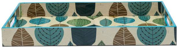 MARKET 99 VON CASA Leaf Design Decorative Large Serving Tray with Handles Tray