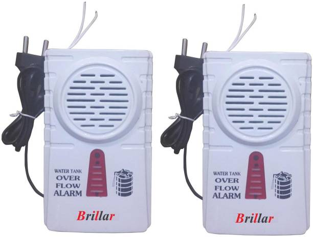 Brillar Water Tank Overflow Plastic Alarm Bell with Multiple Voice Sound Combo Set of 2 Wired Sensor Security System
