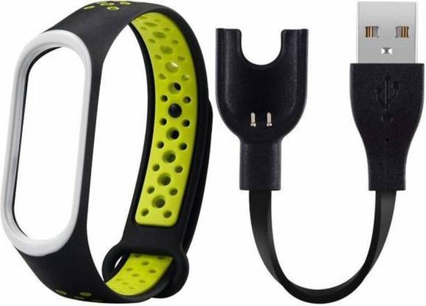 Asotai Combo of Spare M3 Fitness Band Strap with M3 Fitness Band Charger Cable For MI BAND 3 USB Smart Band Strap