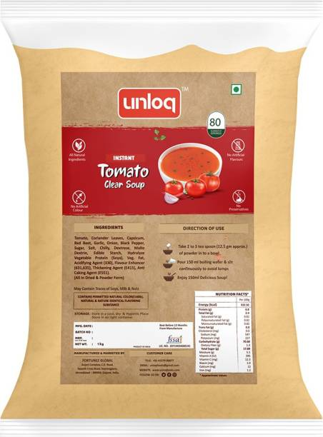 unloq Tomato Instant Soup Healthy Mix Bulk Pack| Tomato Soup with freshest Natural Ingredients Easy to Prepare Anywhere | Serves - 80 (1 Kg)