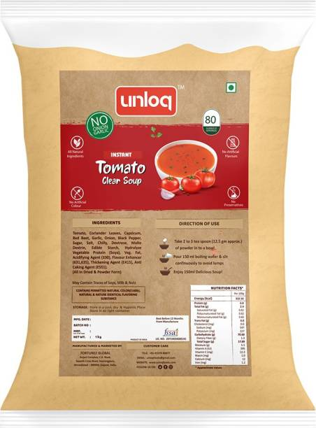 unloq Tomato (No Onion Garlic) Instant Soup Healthy Mix Bulk Pack| Jain Tomato Soup with freshest Natural Ingredients Easy to Prepare | Serves - 80 (1 Kg)