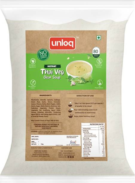 unloq Thai Veg (No Onion Garlic) Instant Soup Healthy Mix Bulk Pack| Jain Thai Veg Soup with freshest Natural Ingredients Easy to Prepare | Serves - 80 (1 Kg)
