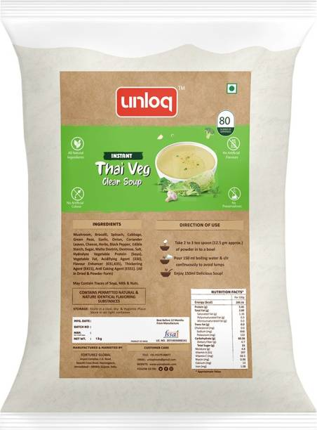 unloq Thai Veg Instant Soup Healthy Mix Bulk Pack | Thai Veg Soup with freshest Natural Ingredients Easy to Prepare Anywhere | Serves - 80 (1 Kg)