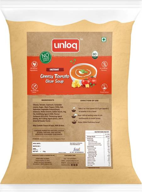 unloq Cheesy Tomato (No Onion Garlic) Instant Soup Healthy Mix Bulk Pack| Jain Cheesy Tomato Soup with freshest Natural Ingredients Easy to Prepare | Serves - 80 (1 Kg)