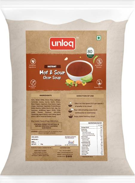 unloq Hot & Sour Instant Soup Healthy Mix Bulk Pack | Hot & Sour Soup with freshest Natural Ingredients Easy to Prepare Anywhere | Serves - 80 (1 Kg)