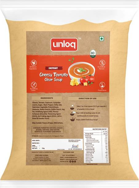 unloq Cheesy Tomato Instant Soup Healthy Mix Bulk Pack| Cheesy Tomato Soup with freshest Natural Ingredients Easy to Prepare Anywhere | Serves - 80 (1 Kg)