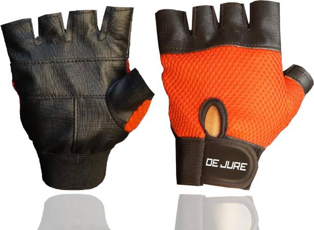 DE JURE FITNESS Dejure Fitness Leather Gym Gloves for Weight Lifting and Exercise for Men Gym & Fitness Gloves