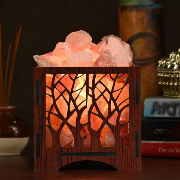 GLOBAL AROMA Wooden Basket Salt Lamp Himalayan Rock Salt Lamp for Positive Energy, Vastu, Healing, Harmony, Purification, Best Wellness Gifting Option Salt Lamp Table Lamp