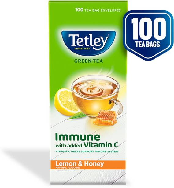 tetley Lemon and Honey Green Tea Bags Box