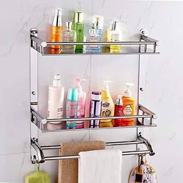 KGL Premium Towel rack Abs and Folding Towel Rack/Towel Hanger/Towel Stand/Holder/Bathroom Accessories, Stainless Steel Silver Towel Holder
