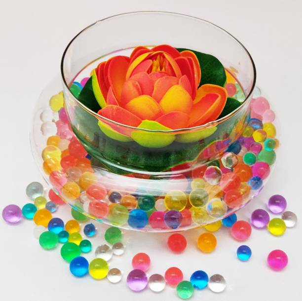 Decorzone Beautiful Round Clear Vase with Floating Orange Lotus Flower and Multicolour Silicon Jelly Beads Earthenware Vase