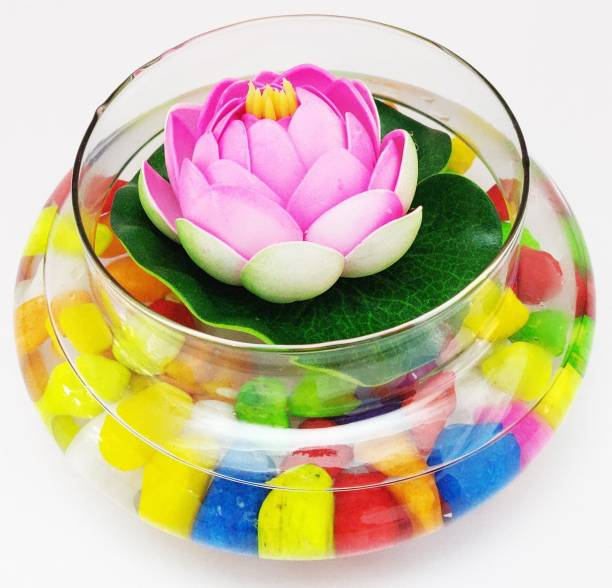 Decorzone Beautiful Round Clear Vase with Pink Faux Lotus Flower and Multicolour pebbles Earthenware Vase