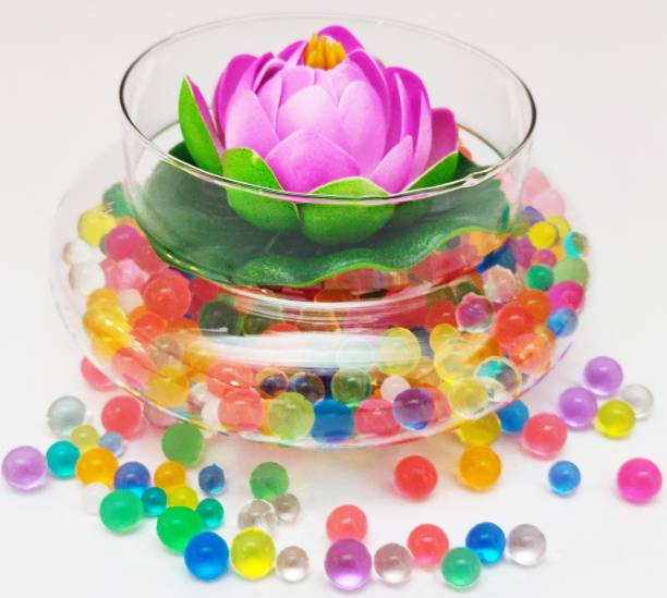 Decorzone Beautiful Round Clear Vase with Floating Purple Lotus Flower and Multicolour Silicon Jelly Beads Earthenware Vase