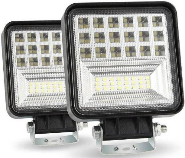 Bidas 42 LED Square Fog Light Waterproof Fog Lamp, Headlight Car, Truck, Van, Motorbike LED (12 V, 126 W)
