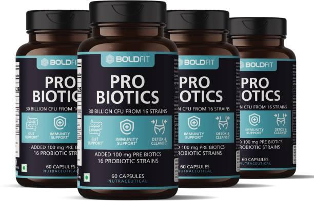BOLDFIT Probiotics Supplement 30Billion CFU for men and women, 16 Strains 240 Veg Capsules