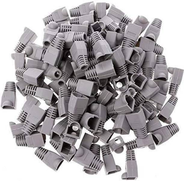 BIGGEAR (Pack of 50) RJ45 Boot CAT6 CAT6E CAT5 CAT5E Ethernet Network Cable Strain Relief Boots Cable Cap Connector Plug Cover Grey Color RJ45 boots cover Wire Connector