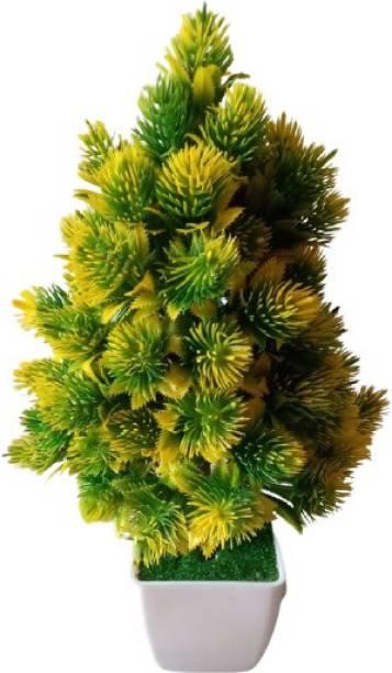 KAYKON Artificial Bonsai Plant Tree With Pot For Home Decor - 8 Inch/20 Cm Bonsai Wild Artificial Plant  with Pot