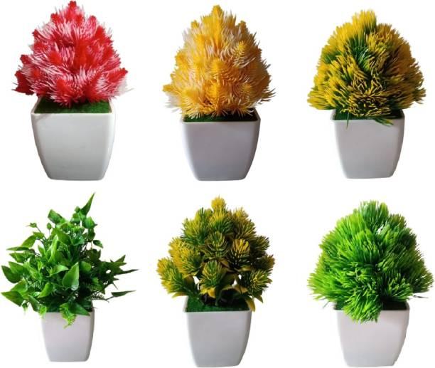 KAYKON 6 Artificial Bonsai Plant With Pot Mini Cute Tree For Home Decor - Small - 6 Inch/15 Cm Bonsai Wild Artificial Plant  with Pot