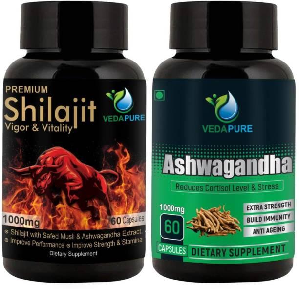 Vedapure Shilajit Vigor & Vitality + Ashwagandha (Withania Somnifera) (COMBO PACK)�