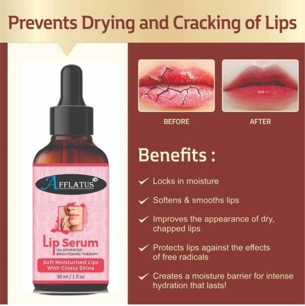 Afflatus Lip Serum Oil For Strawberry Flavour , Lip Shine, Glossy, Soft With Moisturizer, Lip Lightening Serum for Dark Lips ,Lip Serum oil- For Soft and Moisturized Lips
