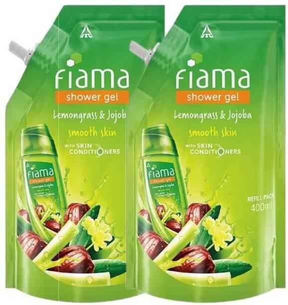 FIAMA SHOWER GEL LEMONGRASS AND JOJOBA SMOOTH SKIN WITH SKIN CONDITIONERS 400ML X 2PCS