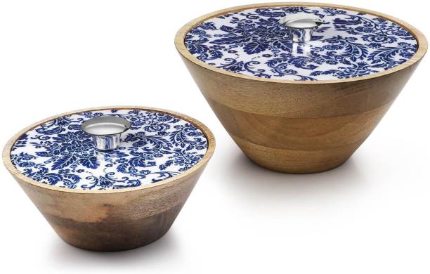 Woodsmyths Casa Blanca Multiutility Bowl set - Bowl with Exotic Floral Decal Printed Lid (Set of 2) Wooden Serving Bowl