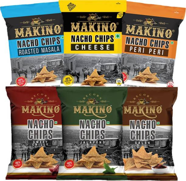 MAKINO Nachos (Roasted Masala, Peri Peri, Cheese, Jalapeno, Sweet Chilly, Salsa) Chips