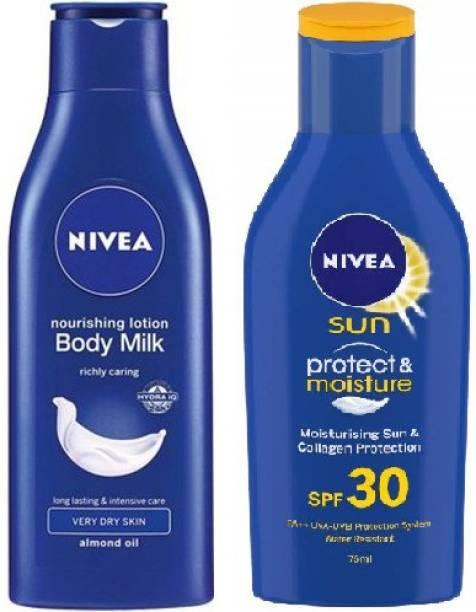 NIVEA Sun Sunscreen + Body Milk Lotion for Men & Women, 75ml