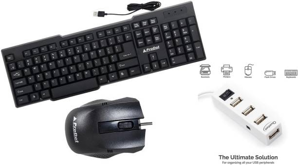 PRODOT 3 IN 1 COMBO WITH KEYBOARD , MOUSE , USB HUB Combo Set