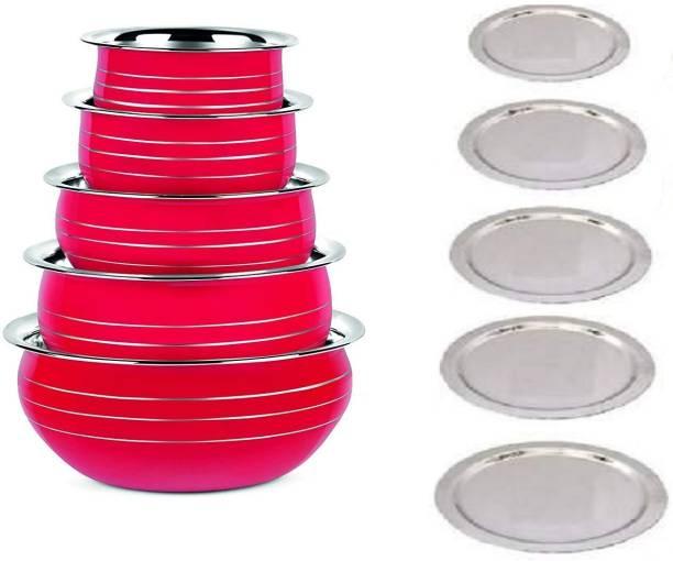 NEWLAND kitchenware 5 piece different red color coating handi/prabhuchety with lid (10 pcs set) Handi 1.8 L, 1.5 L, 1 L, 0.8 L, 0.5 L with Lid