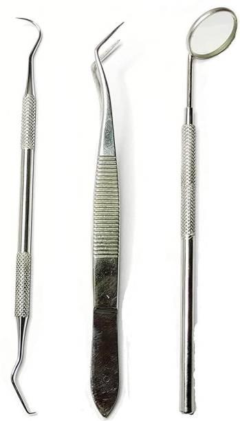 alis 3 Pcs Dental PMT Set, Dental Tools includes 1 Dental Tweezer + 1 Dental Mouth Mirror + 1 Dental Probe for Oral Care Stainless, Steel Dental Hygiene Kit Set with Bag Dental Elevator