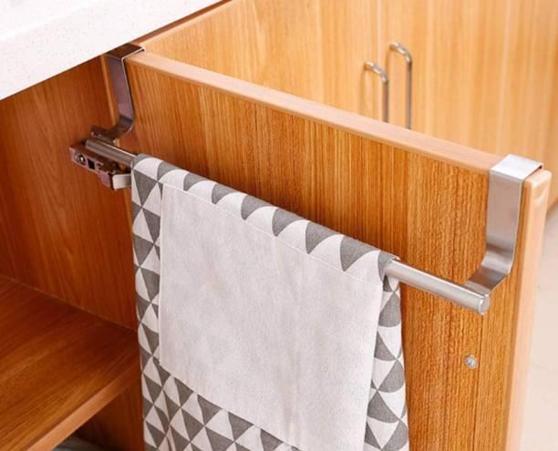 "lukzer 1 PC Stainless Steel 14"" Over the Door Towel Rack Organizer Kitchen Cabinet Shelf, Multipurpose Hanger for Clothes, Jeans, Jackets, Scarfs Door Hanger"