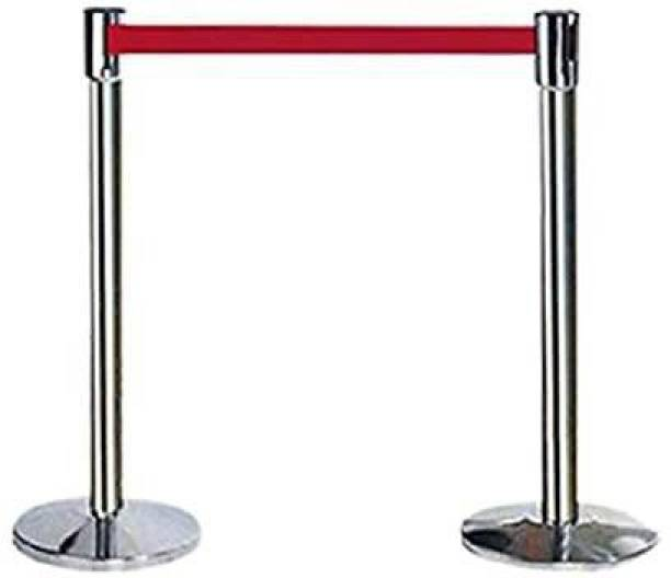 Solitaire Q Manager,202 Grade Extendable 2.25 mtr Hook Type Stanchions Barrier Accessories Steel Barricade uses in airport,malls, museum ,retail outlet,petrol pump,hospitals,ticket counters (Pack of 2) Emergency Sign