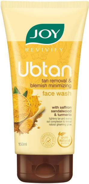 Joy Revivify Ubtan  Tan Removal and Blemish Minimizing With Saffron, Turmeric, Chickpea Flour, Almond Oil , Rose Water, Sandalwood Oil , Walnut Beads - No Parabens  Face Wash