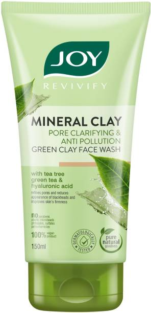 Joy Revivify Mineral Clay Pore Clarifying and Anti-Pollution Green Clay Face wash With Tea Tree, Green Tea & Hyaluronic Acid   Reduces Blackheads, Firms Skin - No Parabens, Face Wash
