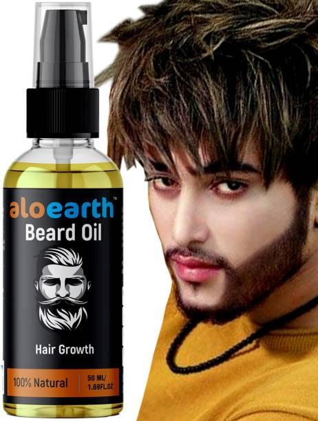 Aloearth 100% Natural Beard Growth Oil- For Stimulating fast Beard Growth Hair Oil (50 ml) Hair Oil