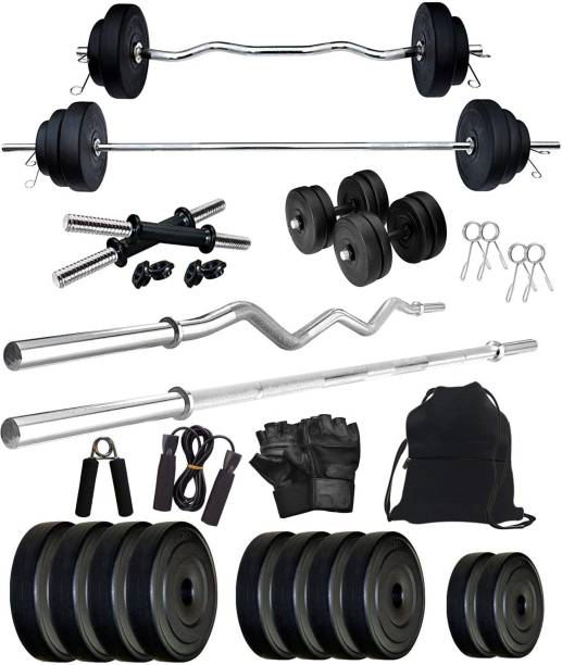 Star X 60 kg PVC 60KG Weight Plates with 3Ft Curl Rod and 5Ft Straight Rod with Gym Accessories Home Gym Combo Home Gym Combo