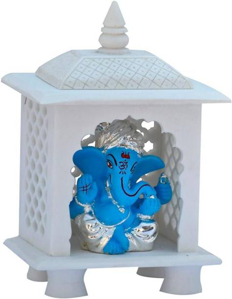 Saugat Traders Marble Finish White Home Temple With Ganesha Idol Stone Home Temple