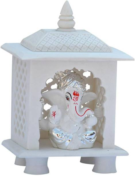 Saugat Traders Marble Finish White Home Temple with Ganesh Ji for Home Decor Stone Home Temple