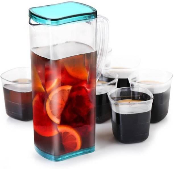 FEEDNIX 2000 ml Water WATER SQUER PLASTIC UNBRACBLE HEAVY PLASTIC JUG WITH 6 PCS UNBRACKBLE GLASS SET (FINISH :- PLASTIC ) Jug