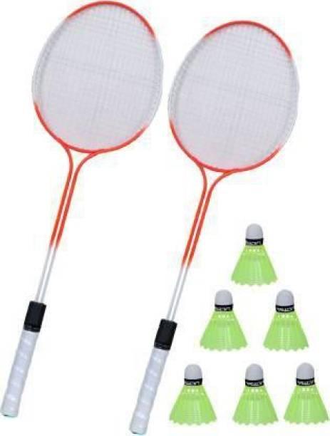 KNK Double Shaft Multicolor Set Of 2 Piece Badminton Racket With 6 Piece Plastic Shuttle Badminton Kit