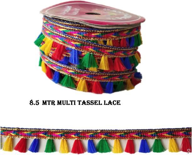 ChandCreation 8.5mtr Desinger Multi colour lace with multicolor tassels Lace Reel