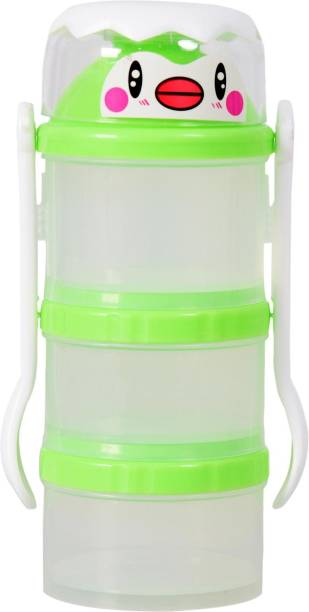 Guru Kripa Baby Products Presents Eco Friendly BPA Free 3 Layers Plastic Milk Powder Food Storage Co ntainer For Travel Time Bowl Set Multi Storage Unbreakable Portable Infant Spill Proof Baby Food Container Tiffin With Spoon & Fork Green