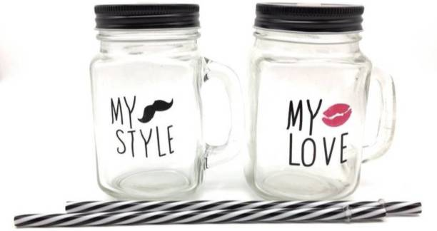 Satyam Kraft Pack of 2 Glass Mason Jar My Love & My Style with Straw and Lid (500 ML) Glass Mason Jar