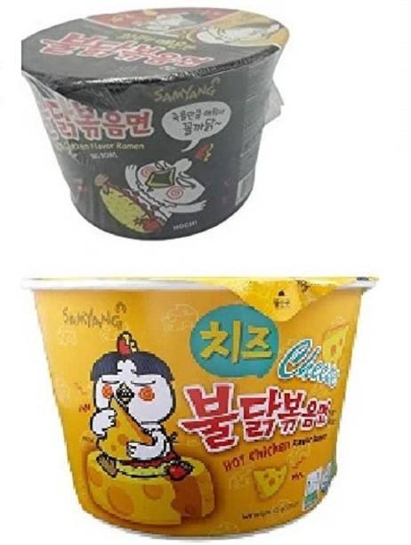 Samyang Big Cheese Bowl & stir fried Flavor Ramen Noodle Soup 105gm*2Pack (Pack of 2) Instant Noodles Non-vegetarian