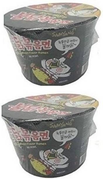 Samyang Big Black Bowl Stir Fried Hot Chicken Flavor Ramen Cup Noodle Soup 105gm*2Pack (Imported) (Pack of 2) Instant Noodles Non-vegetarian