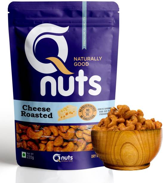 Q nuts NATURALLY GOOD Premium Flavored Cashews | Dry Roasted (Cheese Roasted) Cashews