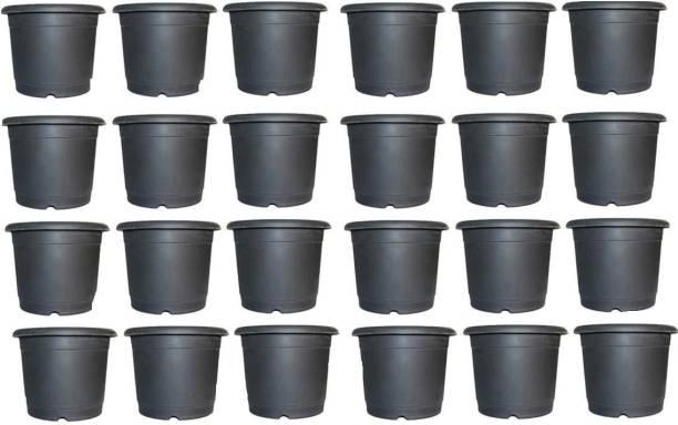 "vijuka Garden 24 pcs (4""inch) Plastic Plants Nursery Seedlings Pot/Pots Flower Plant Container Seed Starting Pots Plant Container Set"