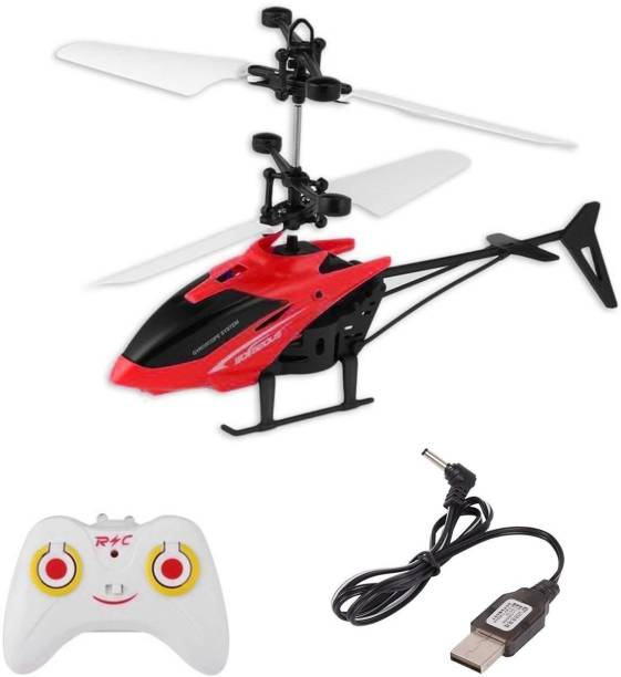 shopviashipping Kids Plastic Induction Type 2-in-1 Flying Indoor Helicopter with Remote(Multicolor)
