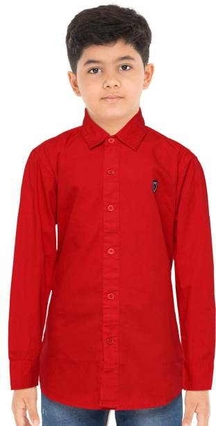 Palm Tree Boys Solid Casual Red Shirt